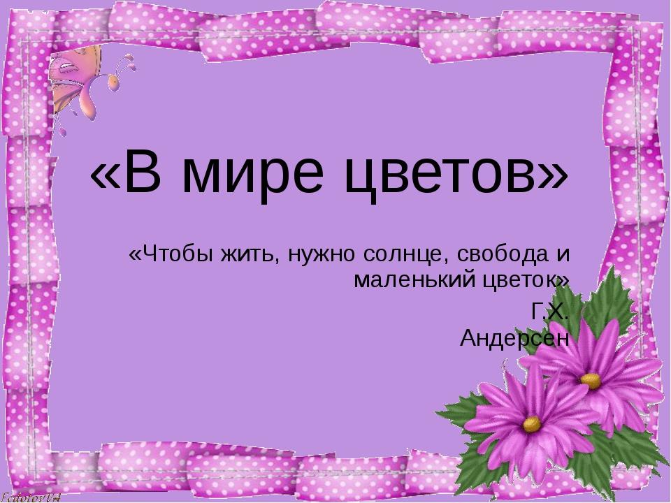 «В мире цветов» «Чтобы жить, нужно солнце, свобода и маленький цветок» Г.Х....