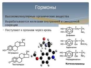 Высокомолекулярные органические вещества Вырабатываются железами внутренней и