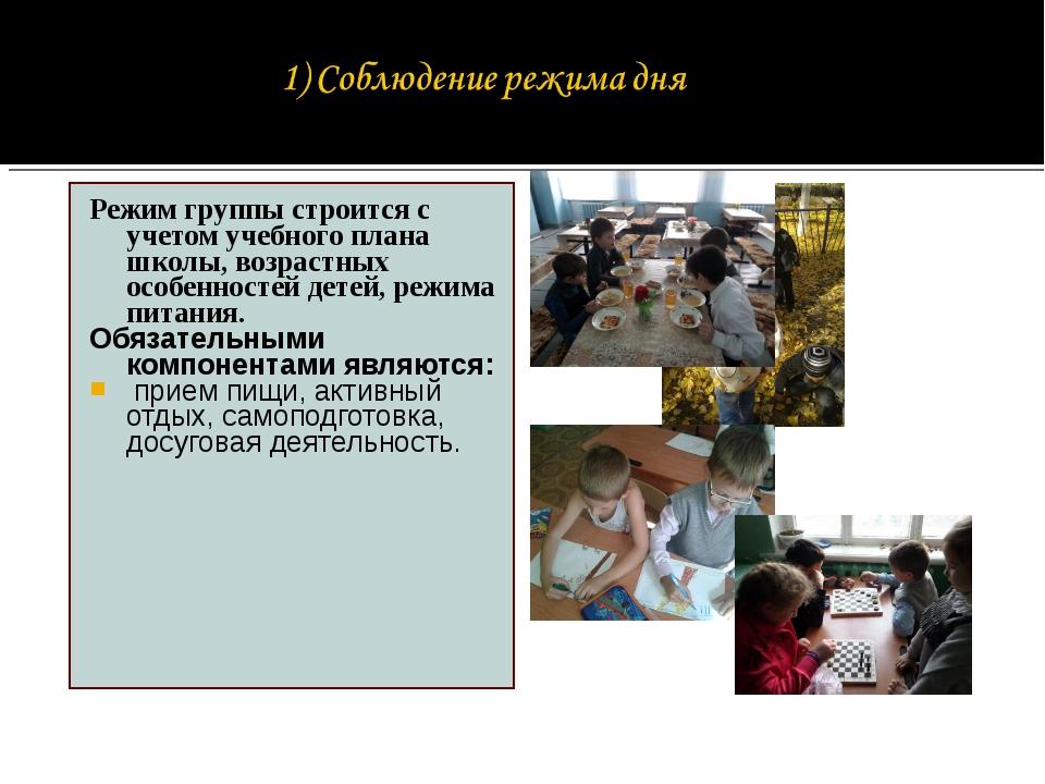 Режим группы строится с учетом учебного плана школы, возрастных особенностей...