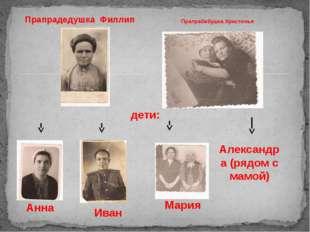 Прапрадедушка Филлип Прапрабабушка Христинья дети: Анна Мария Иван Александра