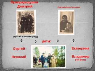 (третий в нижнем ряду) Прапрабабушка Просковья Прапрадедушка Дмитрий Екатерин