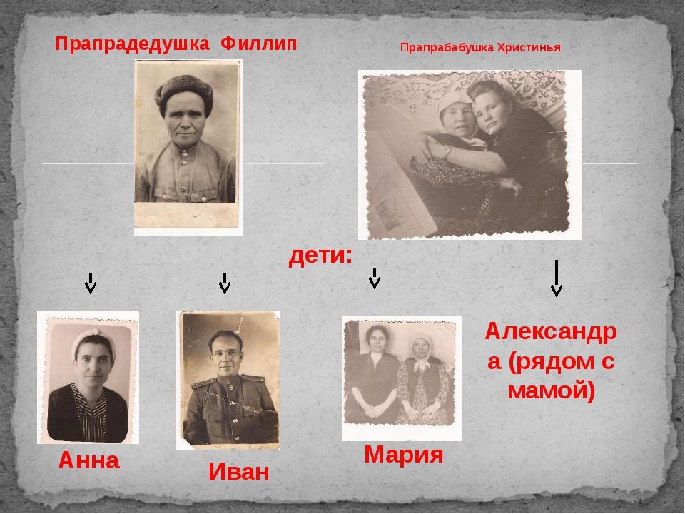 Прапрадедушка Филлип Прапрабабушка Христинья дети: Анна Мария Иван Александра...