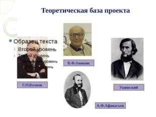 Теоретическая база проекта Г.Н.Волков А.Ф.Афанасьев Ушинский В.Ф.Аникин