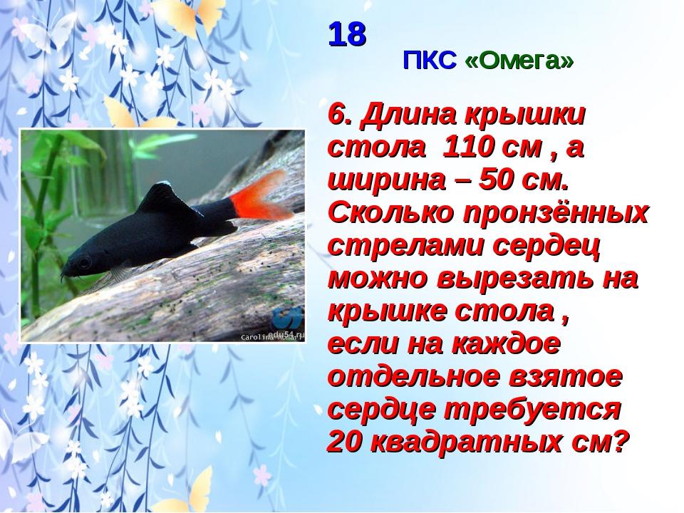 18 ПКС «Омега» 6. Длина крышки стола 110 см , а ширина – 50 см. Сколько пронз...