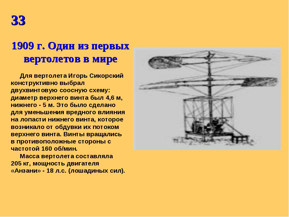 33 1909 г. Один из первых вертолетов в мире Для вертолета Игорь Сикорский кон...