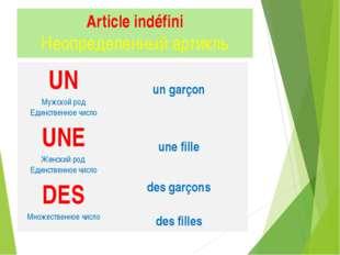 Article indéfini Неопределенный артикль UN Мужской род Единственное число un