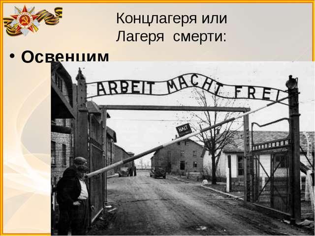 Концлагеря или Лагеря смерти: Освенцим