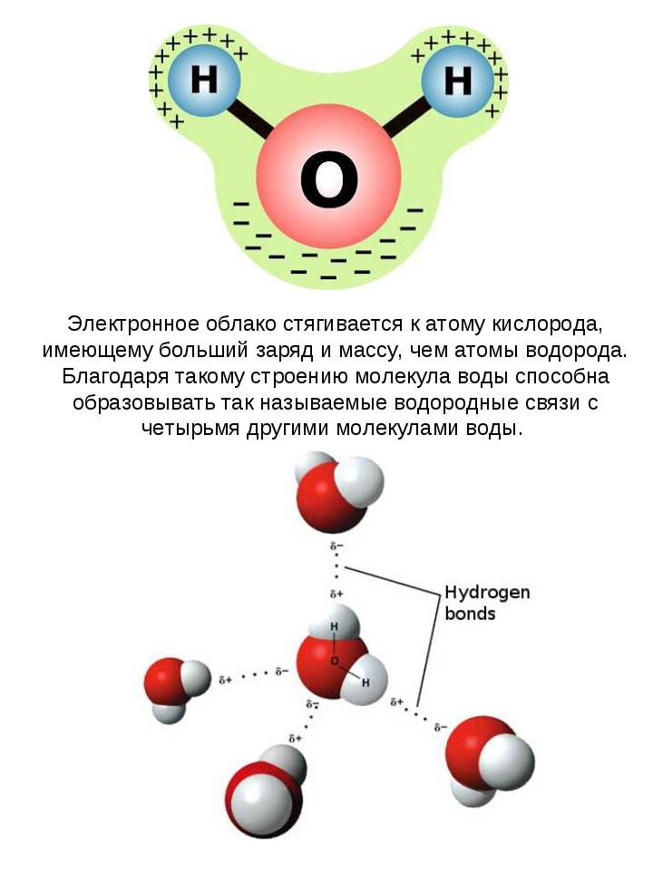 Электронное облако стягивается к атому кислорода, имеющему больший заряд и ма...