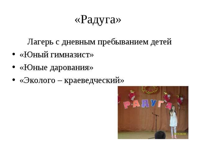 «Радуга» Лагерь с дневным пребыванием детей «Юный гимназист» «Юные дарования»...