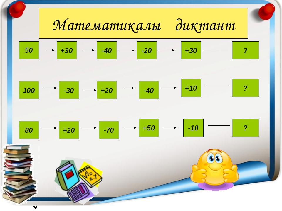 ? ? ? 50 +30 -40 -20 +30 100 -30 -40 +20 +10 80 +20 -70 +50 -10 Математикалық...