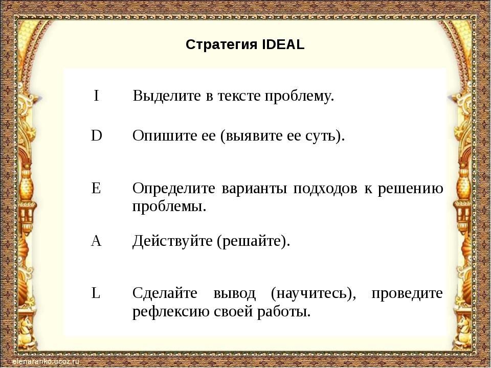 Стратегия IDEAL I Выделитев тексте проблему. D Опишите ее (выявите ее суть)....