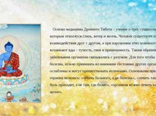 Основа медицины Древнего Тибета – учение о трех сущностях – ньепа, к которым