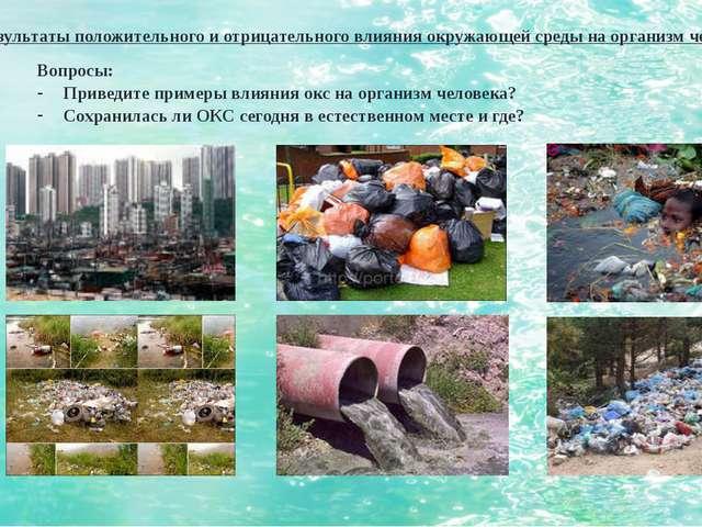 3. Результаты положительного и отрицательного влияния окружающей среды на орг...