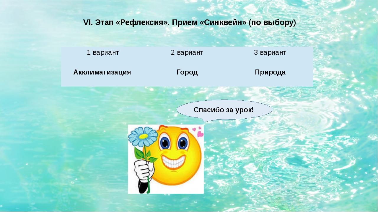 VI. Этап «Рефлексия». Прием «Синквейн» (по выбору) Спасибо за урок! 1...