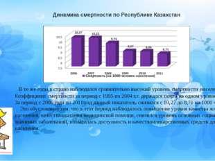 Динамика смертности по Республике Казахстан В те же годы в стране наблюдался