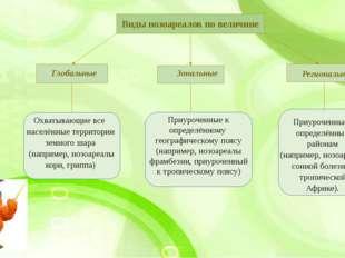 Приуроченные к определённым районам (например, нозоареалы сонной болезни в т
