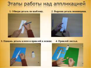 1. Обведи деталь по шаблону. 2. Вырежи деталь ножницами. 3. Намажь деталь кле