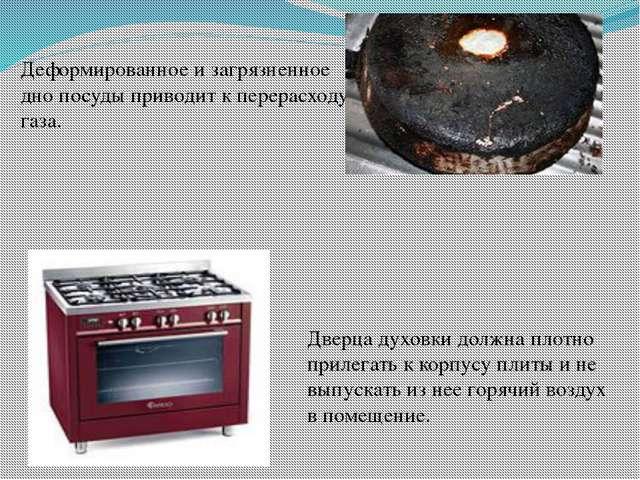 Деформированное и загрязненное дно посуды приводит к перерасходу газа. Дверца...