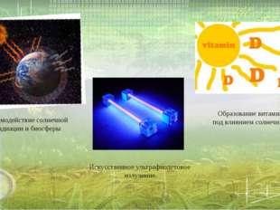 Взаимодействие солнечной радиации и биосферы Образование витамина «Д» под вли