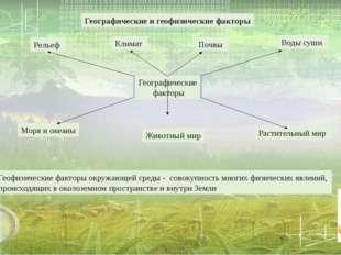 Географические и геофизические факторы Геофизические факторы окружающей сред