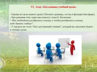 VI. Этап «Постановка учебной цели». - Каковы же цели нашего урока?(Изучить г