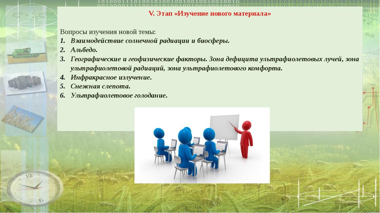 V. Этап «Изучение нового материала» Вопросы изучения новой темы: Взаимодейств...