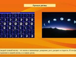 Каждый лунный месяц – это жизнь в миниатюре, рождение, рост, расцвет и старос