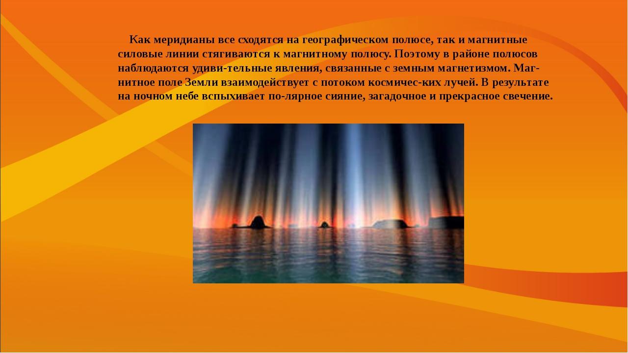Как меридианы все сходятся на географическом полюсе, так и магнитные силовые...