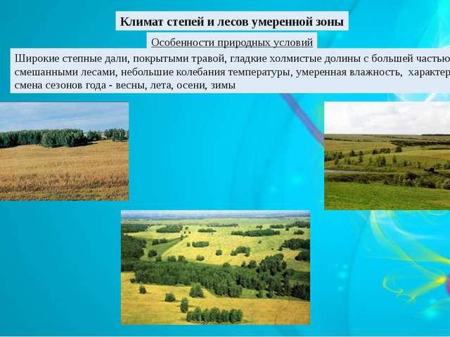 Климат степей и лесов умеренной зоны Особенности природных условий Широкие ст...