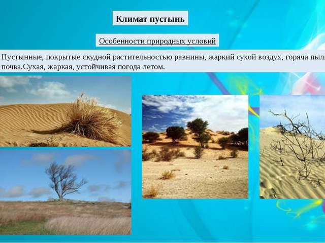 Климат пустынь Особенности природных условий Пустынные, покрытые скудной раст...