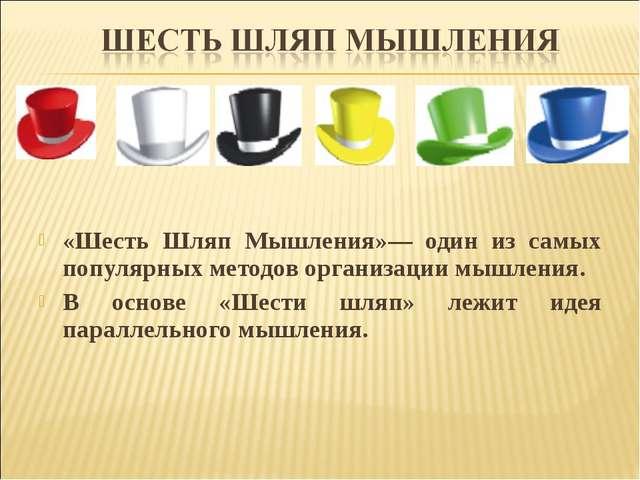 «Шесть Шляп Мышления»— один из самых популярных методов организации мышления...