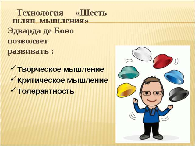 Технология «Шесть шляп мышления» Эдварда де Боно позволяет развивать : Творч...
