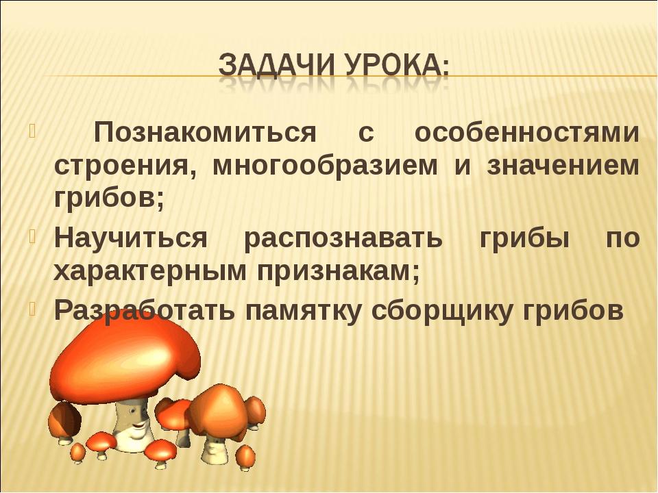 Познакомиться с особенностями строения, многообразием и значением грибов; На...