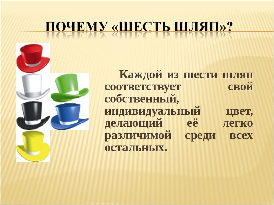 Каждой из шести шляп соответствует свой собственный, индивидуальный цвет, де...