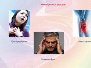 Метеотропные реакции Приступ удушья Головные боли Боли в суставах