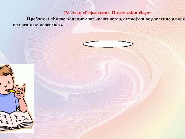 IV. Этап «Рефлексия». Прием «Фишбоун» Проблема: «Какое влияние оказывают вете...