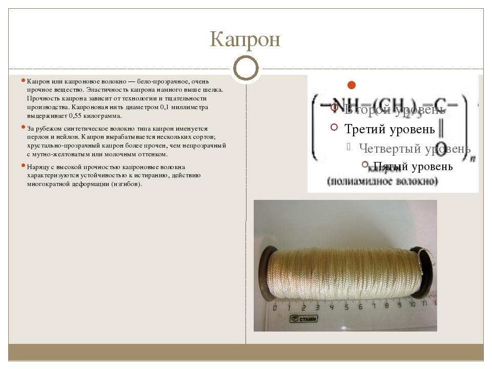 Капрон Капрон или капроновое волокно— бело-прозрачное, очень прочное веществ...