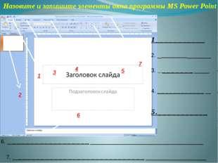 Назовите и запишите элементы окна программы MS Power Point 1___________ 2. __