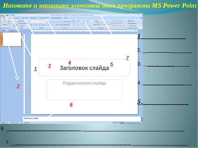 Назовите и запишите элементы окна программы MS Power Point 1___________ 2. __...