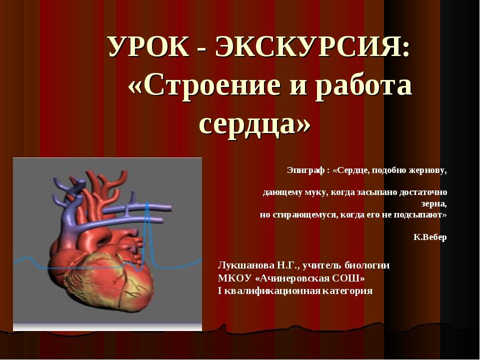 УРОК - ЭКСКУРСИЯ: «Строение и работа сердца» Лукшанова Н.Г., учитель биологи...