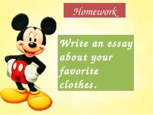 Homework Write an essay about your favorite clothes.