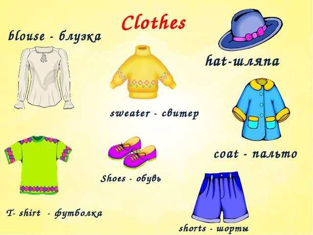 Clothes shorts - шорты hat-шляпа blouse - блузка coat - пальто sweater - свит...