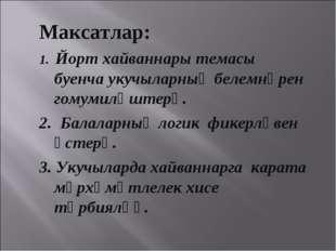Максатлар: 1. Йорт хайваннары темасы буенча укучыларның белемнәрен гомумиләшт