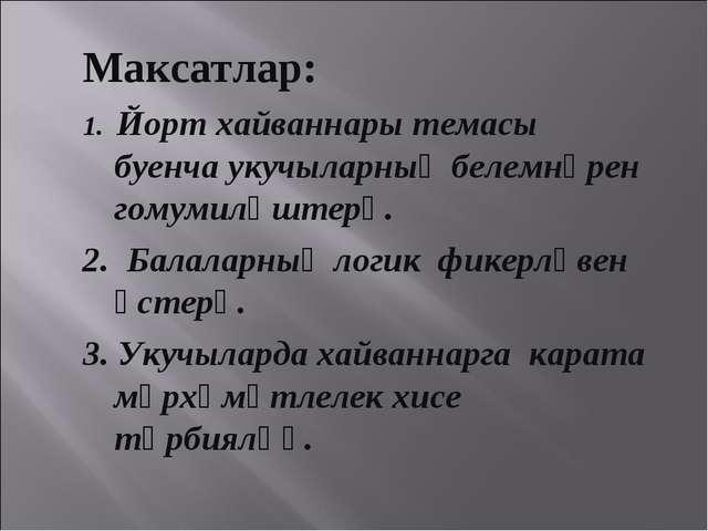 Максатлар: 1. Йорт хайваннары темасы буенча укучыларның белемнәрен гомумиләшт...
