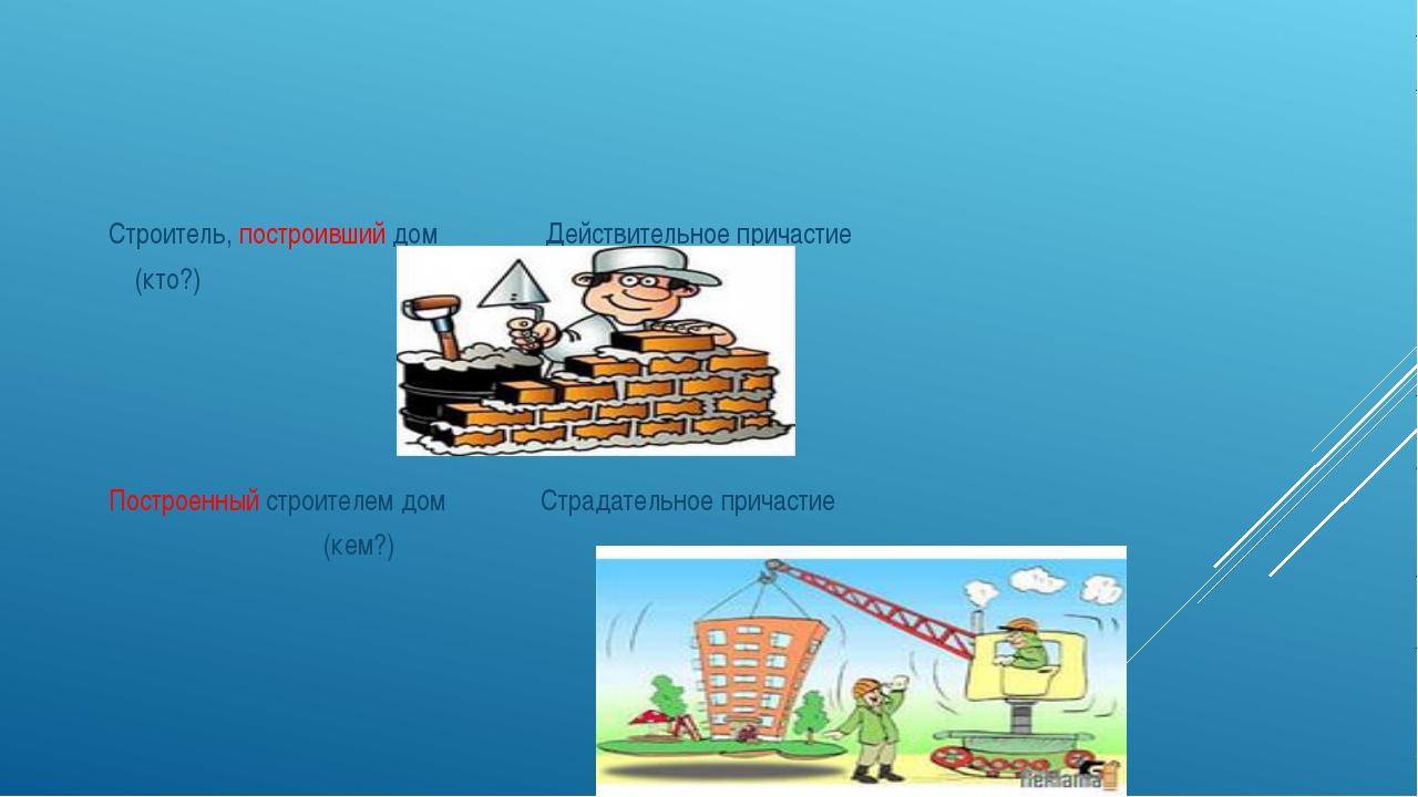 Строитель, построивший дом Действительное причастие (кто?) Построенный строит...