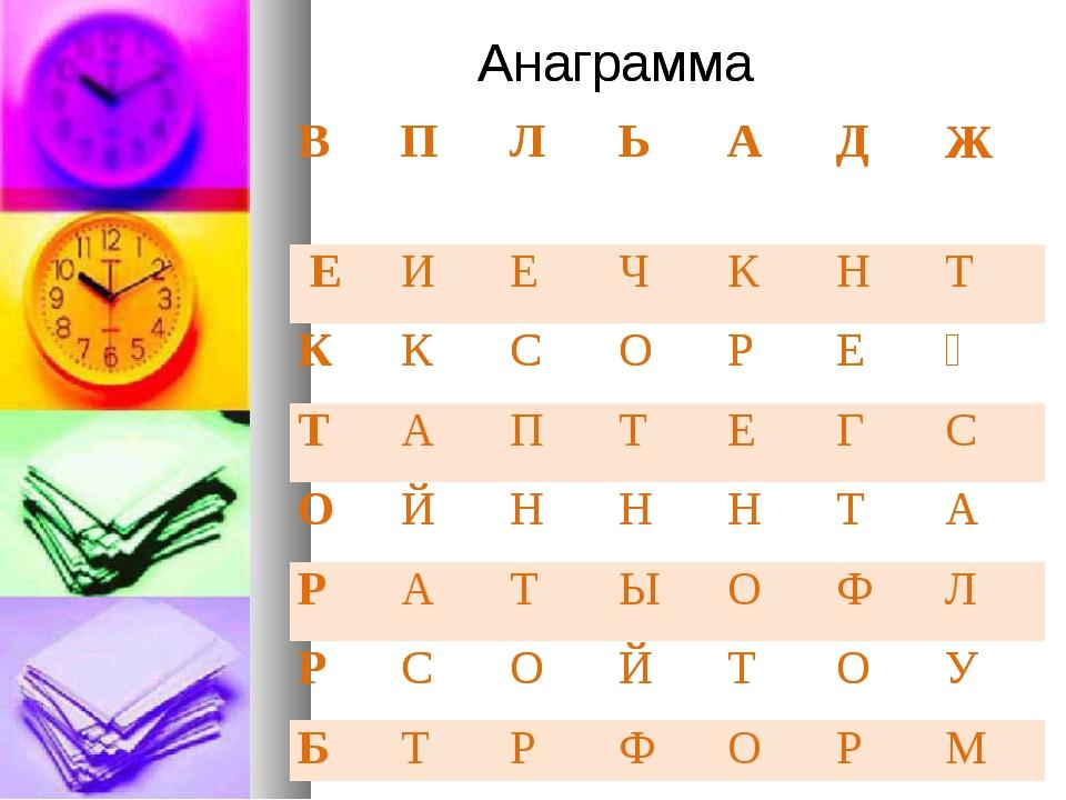 Анаграмма Анаграмма ВПЛЬАДЖ ЕИЕЧКНТ ККСОРЕҮ ТАПТЕГС О...