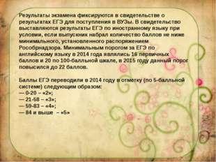 Результаты экзамена фиксируются в свидетельстве о результатах ЕГЭ для поступл