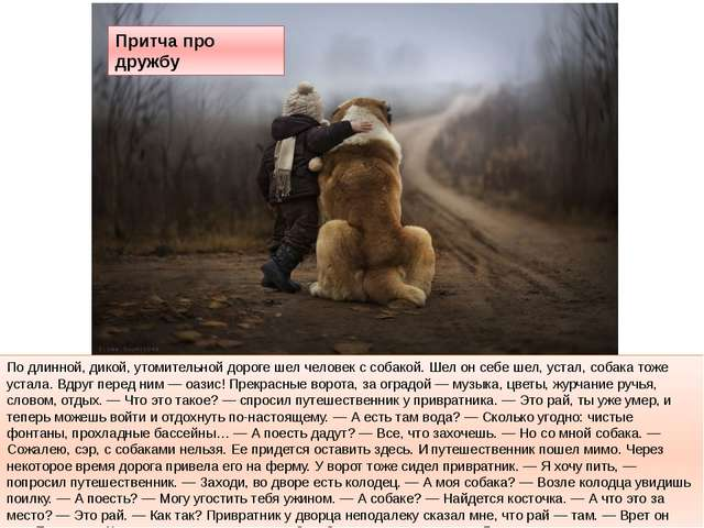 По длинной, дикой, утомительной дороге шел человек с собакой. Шел он себе шел...