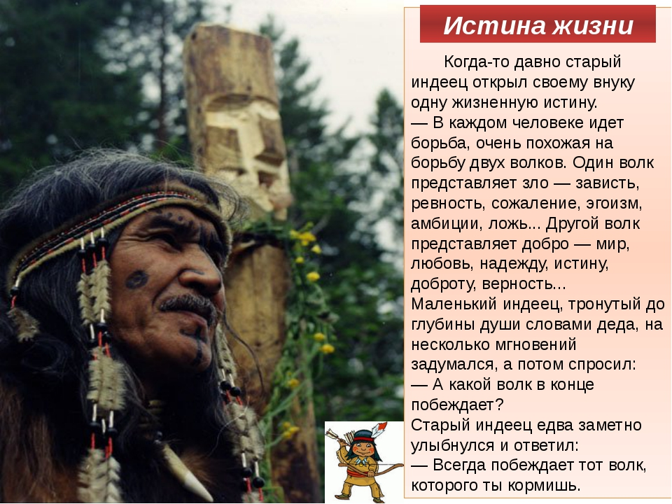 Когда-то давно старый индеец открыл своему внуку одну жизненную истину. —...