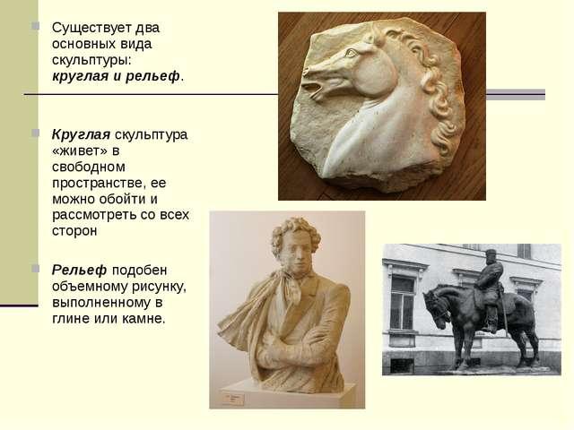 Существует два основных вида скульптуры: круглая и рельеф. Круглая скульптура...